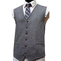 Gilet in Misto Lana, Tweed Donegal, Grigio -