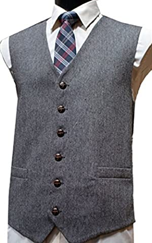 Gilet sans manche en tweed du Donegal, laine mélangée, Gris