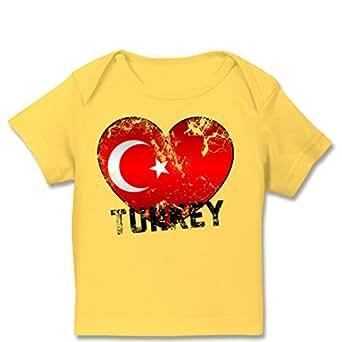 E110B Baby-T-Shirt Babies Säugling Shirt Envelope Ausschnitt kurzarm – EM 2016 Frankreich Babys – Turkey Herz Grunge