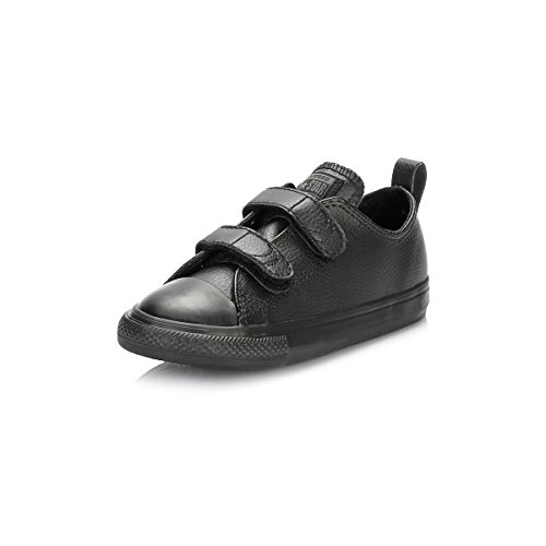 Converse Chuck Taylor All Star 2V Black Leather Baby Trainers Black