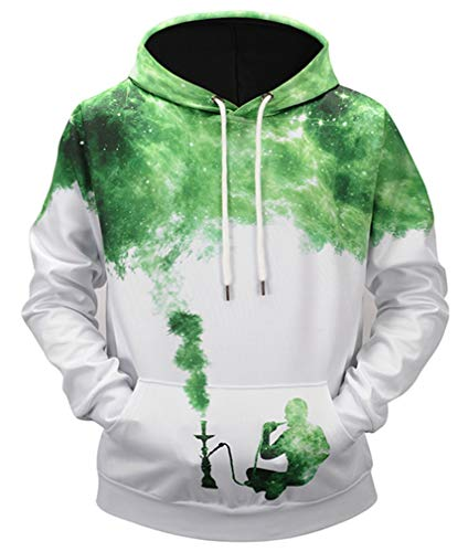 Ocean Plus Herren Casual Kapuzenpullover Aufdruck Pulli Motiv Hoodie Tierdruck Sweatshirt Streetwear Pullover mit Kapuzen Herrenhemd (L (Brustumfang: 115CM), Rauch Silhouette)