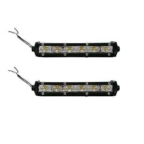 LARS360® 2 x 18W LED Lumière de travail Projecteur de cheminée hors route Réflecteur Spotlight Worklight 3000LM Noir Aluminium Diecast IP67 pour SUV UTV ATV