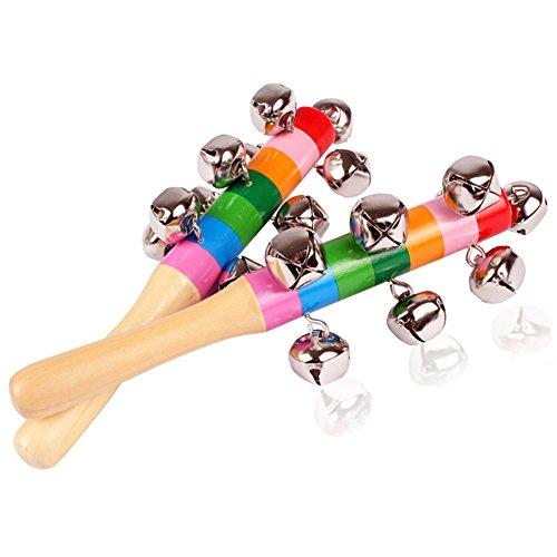 Westeng Bébé Percussion à La Main avec sonnettes boule Petit Tambourin Coloré Educatif Cadeau Longueur 18cm 2pcs