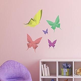 Adesiviamo ® Origami Origami Butterfly Wall Stickers, Butterfly Wall Sticker Medium Multicolor