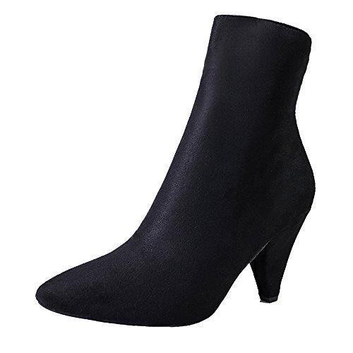 (Stiefel Damen Casual, Sonnena Spitz Toe Flock Stiefel Herbst Mitte Tube Boots High HeelsZipper Stiefeletten Knöchel Schuhe Party Booties Sexy Freizeit Schuhe Boots Damenstiefel)