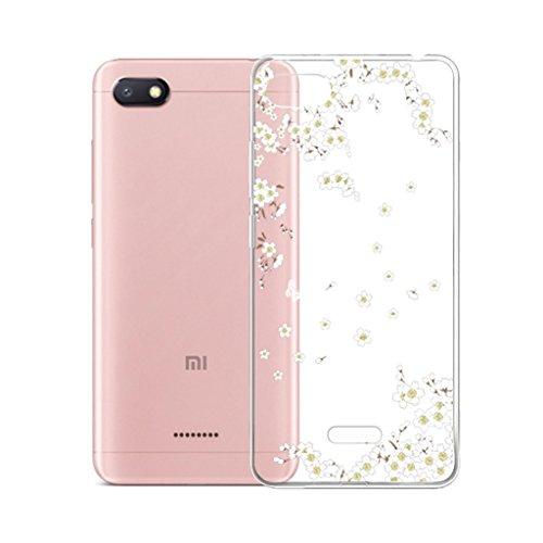 """IJIA Case Funda para Xiaomi Redmi 6A, Transparente Blanco Puro Hermoso Ewha TPU Silicona Suave Cover Tapa Caso Parachoques Carcasa Cubierta para Xiaomi Redmi 6A (5.45"""")"""