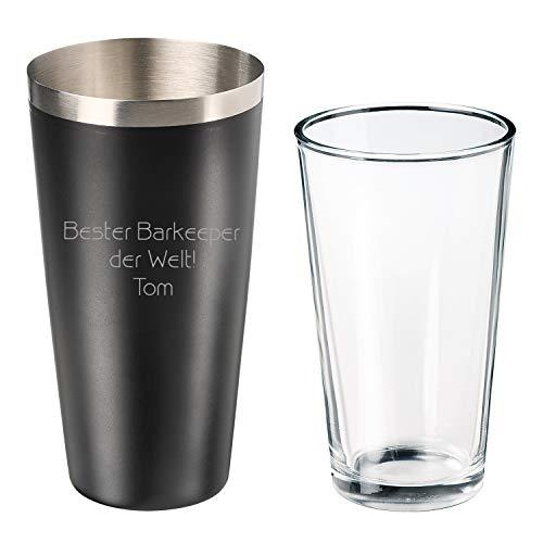 elasto Dein Eigener Cooler Personalisierter Cocktailshaker mit Gravur und Rührglas Edelstahl Boston Shaker mit Namen und Coolen Motiven Kälteschutz-Antirutschbeschichtung 700ml Schwarz (Freitext)
