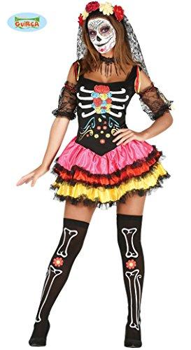 Mexikanisches Skelett Kleid für Damen Sexy Halloween Kostüm Mexikanerin Gr. S-L, Größe:S
