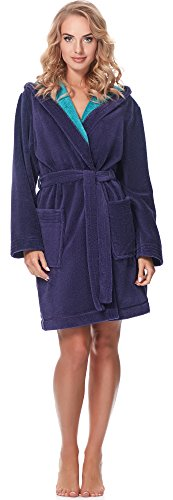 Merry Style Bata Corta con Capucha Vestidos de Casa Ropa Mujer MSLL1004 Violeta/Azul, S