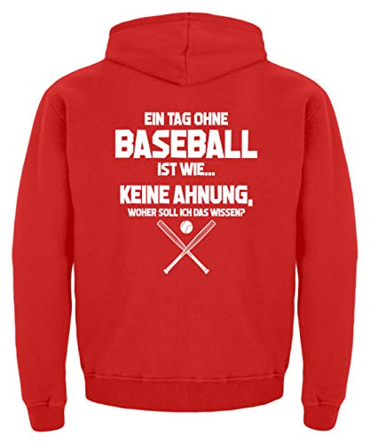 shirt-o-magic Baseball-Fan: Tag ohne Baseball? Unmöglich! - Kinder Hoodie -5/6 (110/116)-Feuerrot