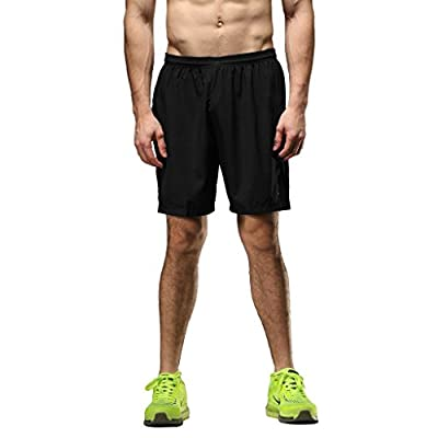 SEEU Running Shorts Men 2 in 1 Shorts Mens Training Shorts with Zip Pocket Black / Blue