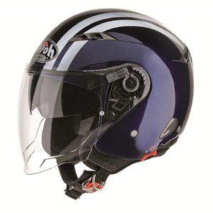 Airoh COF13SCity One Flash - Casco demi jet para moto M azul