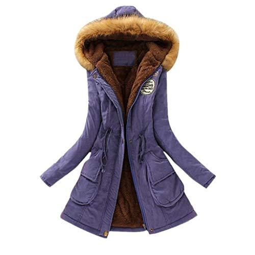 KUDICO Damen Mantel Herbst Winter Warmer Pelzkragen schlank fit Monochrom Reißverschluss Lange Kapuzenjacke Parka Outwear, Angebote!(Lila, EU-40/CN-L)