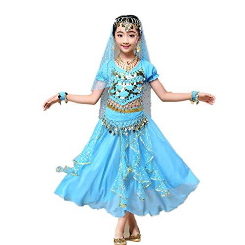Amphia - Bauchtanzkostüm für Kinder (2er-Set) - Kindermädchen Bauchtanz Outfit Kostüm Indien Tanzkleidung Top + ()
