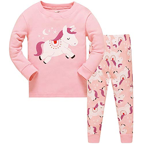 Conjunto de Pijama para bebés y niñas, diseño de Jirafa de Caballo, 2 Piezas Unicornio Rosa 4-5 Años