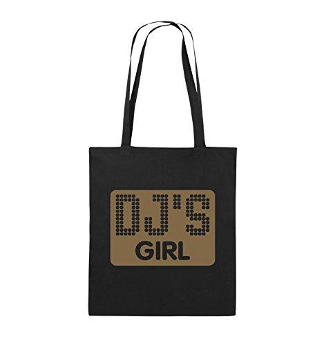 Comedy Bags - DJ'S GIRL - NEGATIV PUNKTE - Jutebeutel - lange Henkel - 38x42cm - Farbe: Schwarz / Silber Schwarz / Hellbraun
