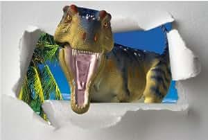 Affiche trompe l'oeil dinosaure de face 105x70cm
