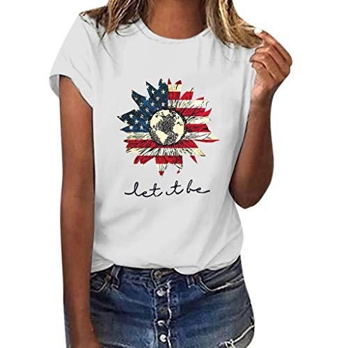 SHE.White Tag Der Unabhängigkeit Kurzarm Tops Damen Flagge Sonnenblume Drucken T-Shirt Sommer Casual Loose Blusen Strand Urlaub Lose Tunika (Verkauf Für Mittelalterliche Kleider)