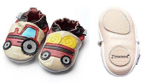 Jinwood designed by amsomo - Jungen - Maedchen - Hausschuhe - ECHT LEDER - Lederpuschen - Krabbelschuhe - soft sole / mini shoes div. Groeßen tractor & trailer beige mini shoes