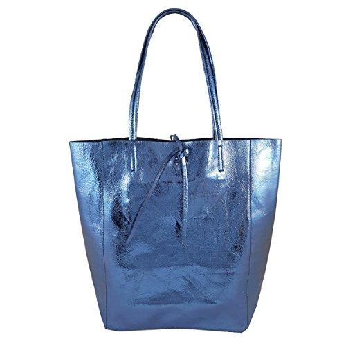 FreyFashion - Made in Italy, Borsa tote donna Blu metallizzato