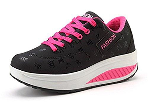 NEWZCERS Chaussures de course pour dames Chaussures de sport Chaussures athlétiques lacées chaussures de gym Noir