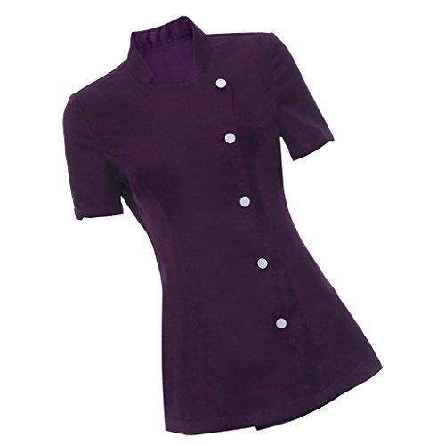 Sharplace Uniforme Camiseta de Balneario SPA Salón Belleza Masaje Esteticista Túnica Terapeuta para Mujer Señora - Púrpura, M