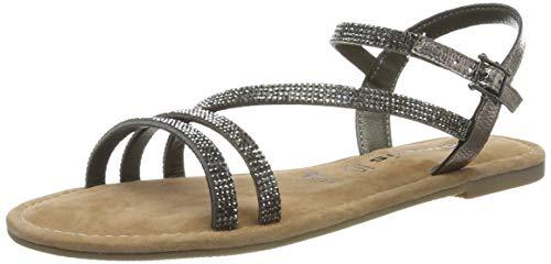 Tamaris 1-1-28113-22, Sandali con Cinturino alla Caviglia Donna, Argento (Pewter Glam 765), 38 EU