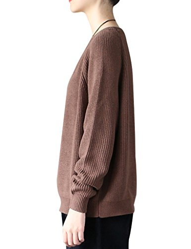 Youlee Femmes Rond Col Court Pull Chandail Café