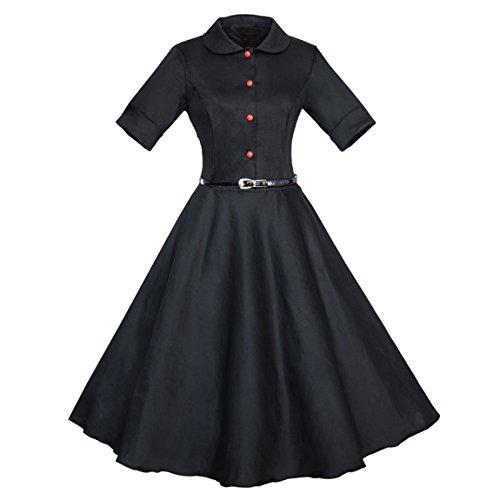 Dressvip Femme Robe Rétro Vintage Années 50 Manches 1/2 avec Ceinture Robe Rockabilly Pin-up Robe de Cérémonie de Soirée Noir