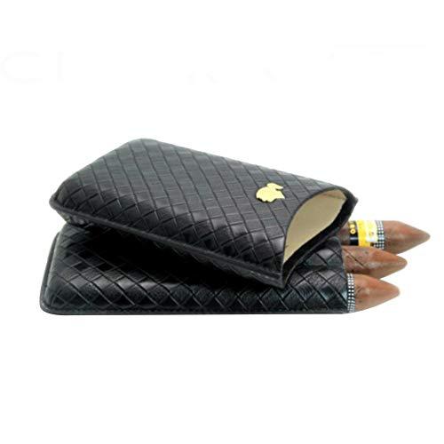 Leder 3 Tasche (soundwinds Leder Zigarre Fall Zigarren Feuchtigkeitsspendende Tube Tragbare Reise Zigarre Etui Tasche für 3 Zigarren Zigarre Zubehör Braun Schwarz)