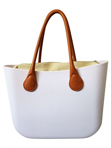 Deininger bags, Borsa tote donna Navy and Flat Classic White
