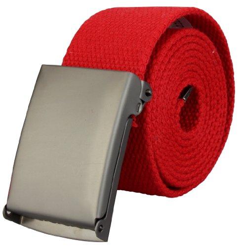 Ceinture tissu haute qualité 4cm largeur avec boucle déployante en rouge | Longueur totale: 110cm = Tour de taille 95cm