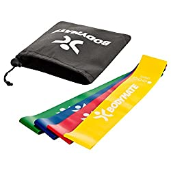 BODYMATE Fitnessbänder Set mit 4 Stärken und Transporttasche - 60cm Umfang x 5cm breit - Gymnastikband, Fitnessband, Band Loops aus Naturlatex - Widerstandsbänder Funktionelles Training