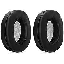 kwmobile Almohadillas para Diadema de Cascos Sony MDR-1A Negro en Almohadilla de Cuero sint/ético