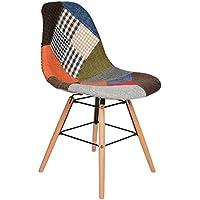 ts-ideen Sedia da Tavolo stile retró anni '50 in legno di faggio rivestito in tessuto motivo forme multitrama