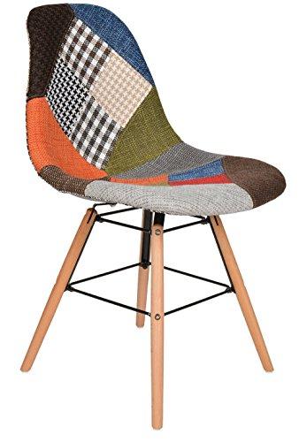 ts-ideen 1 x Design Patchwork Sessel Wohnzimmer Büro Stuhl Esszimmer Sitz Holz Stoff bunt