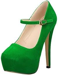 Mujer Zapatos de tacón Franela Plataforma Mary Jane acón alto HooH Hebilla Boda Zapatos de tacón