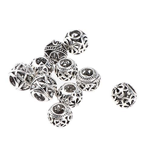 B Blesiya 10 Stück Dreadlocks Metall Haar Manschetten Haare Flechten Perlen Haar-Accessoire - Silber
