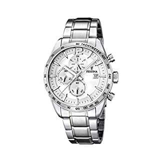 University Sports Press F16759/1 – Reloj de Cuarzo para Hombre, con Correa de Acero Inoxidable, Color Plateado