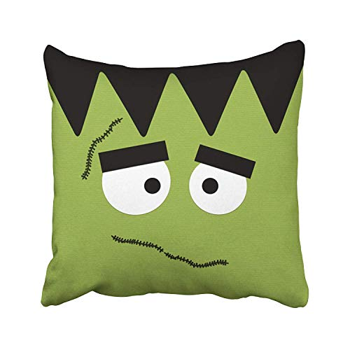 FPDecor Dekorativ Kissenbezug, Funny Frankenstein Face for Halloween Throw Pillow Covers Cushion Cover Case 18x18 Inches Pillowcases Two Sides