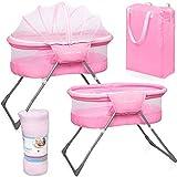 Baby Reisebett Beistellbett Babybett rosa Mädchen Bassinet Snoozer mit Moskitohaube, Matratze und Tasche
