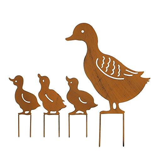 Frank Flechtwaren Gartenstecker Entenfamilie im 4er Set