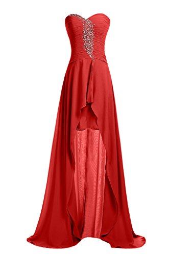 Sunvary Robe de Soiree Robe de Bal Asymetrique A-ligne Chiffon Plisse Paillette Rouge