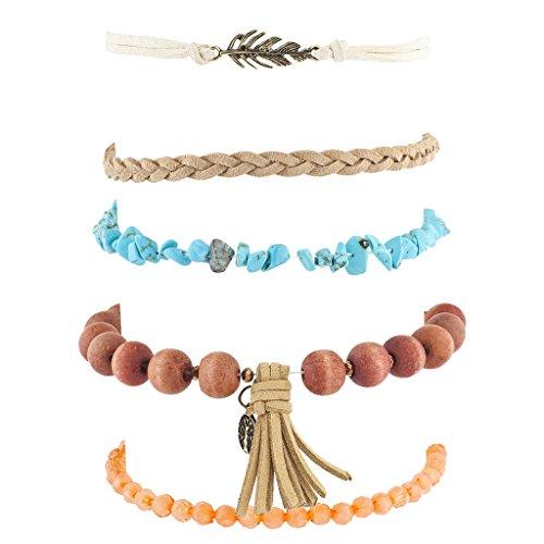 LUX Zubehör brüniert Gold Ton Perlenquasten Boho Perlen Strand Arm Candy Set (Indischer Schmuck-display)