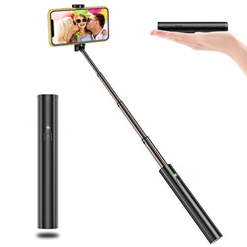 Bovon Selfiestick Bluetooth, Aluminium All-in-one Leicht Tragbare Selfiestange, Erweiterbarer Selfie Stick für iPhone XS Max/Xr/X / 8 Plus, Galaxy S10 Plus / S10e / Note 9 / S9 Plus usw.