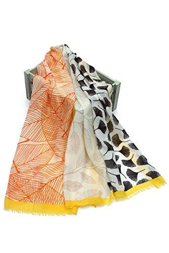 SEW ELEGANT Damen-weicher leichter Ginkgo Biloba-Blatt-Frauenhaar-Druck-ausgefransten Schal (Gelb)