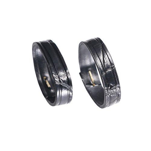 23 millimetri di lusso ampie sostituzioni orologio in pelle di alligatore anello fibbia supporto in nero (due pezzi un pacchetto)