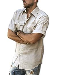 Puro Lino Camisa Casual - Liso - Manga Corta - para Hombre