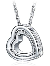 PAULINE & MORNGEN Love You Forever Engraving Necklace Ladies Heart Pendant with Crystals from Swarovski,Comes in Gift Box, Nickel-free Passed SGS Test, 45+5cm