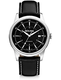Golana Advanced Men's Automatic Watch with Black Dial Analogue Display and Black Leather Strap AD400-1
